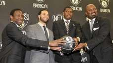 Brooklyn Nets' new backcourt Deron Williams, second from