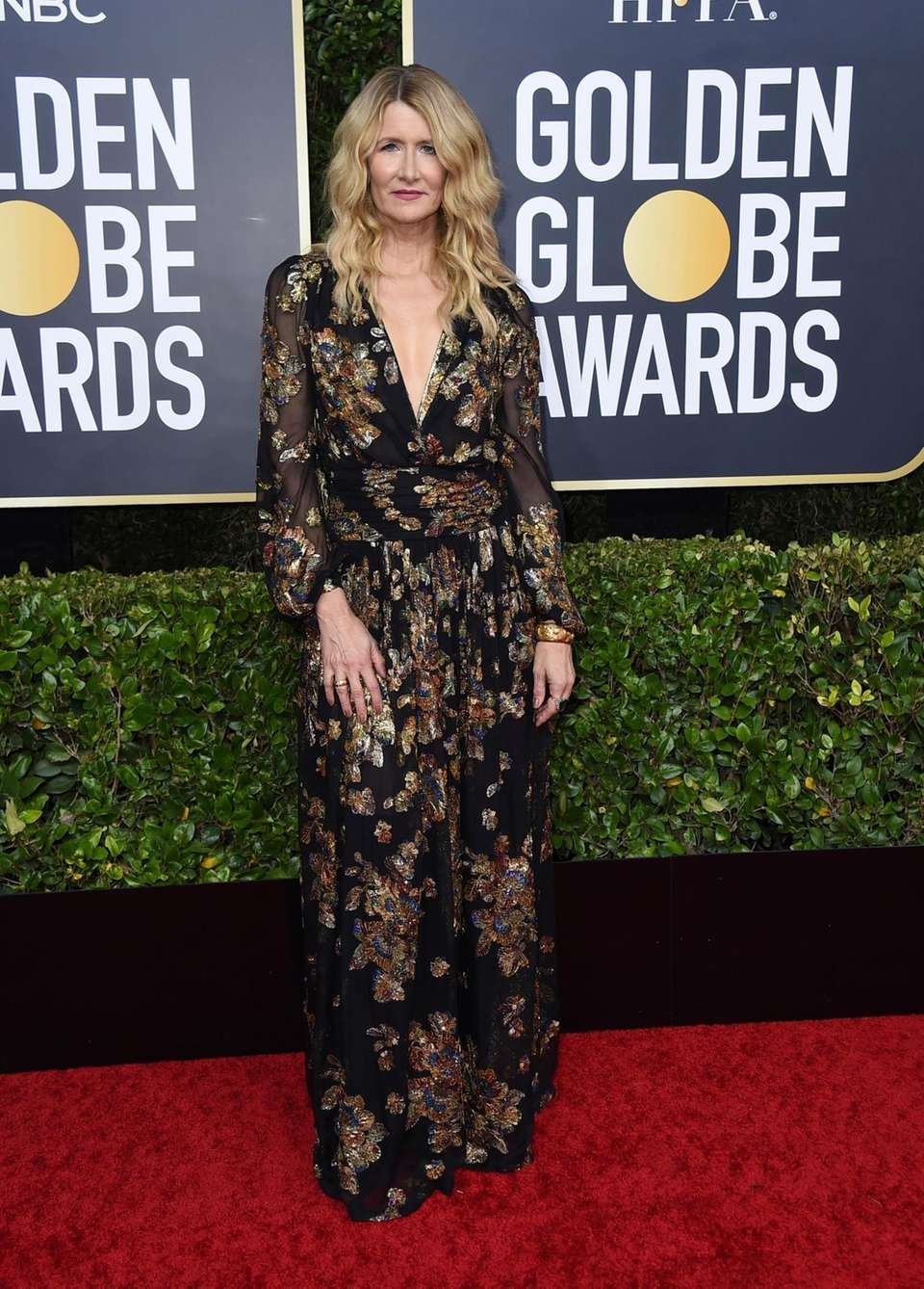 Laura Dern arrives at the 77th annual Golden
