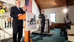 Congressman Tim Bishop speaks during a debate with