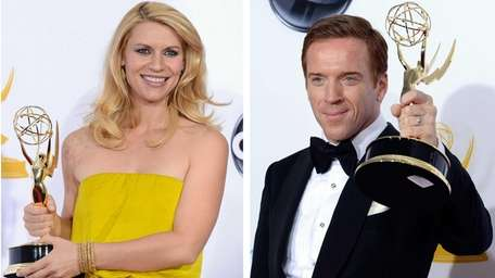 Left, Claire Danes holds her Emmy for Outstanding