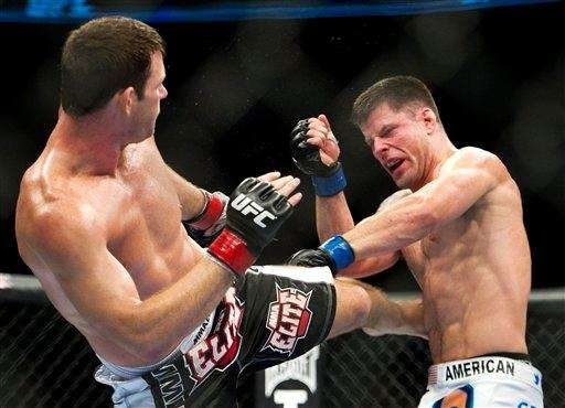 Michael Bisping, right, won a unanimous decision over