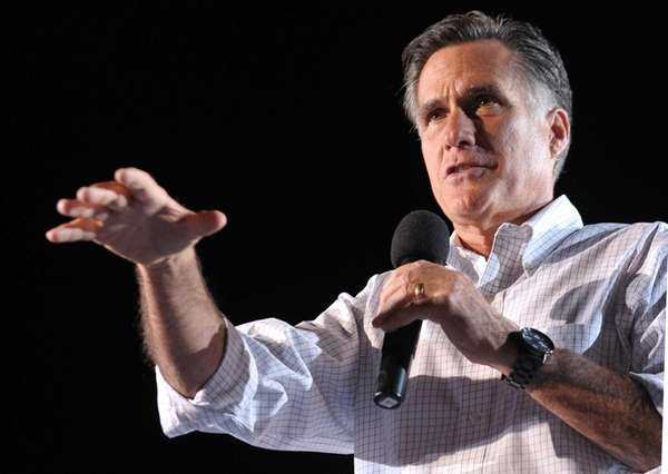 Mitt Romney speaks at a campaign rally at