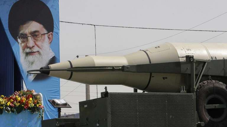 A Sajjil missile is displayed by Iran's Revolutionary
