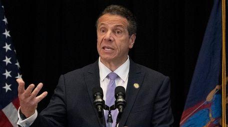 New York State Governor Andrew Cuomo announces a