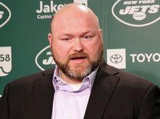Jets GM Joe Douglas speaks to reporters during