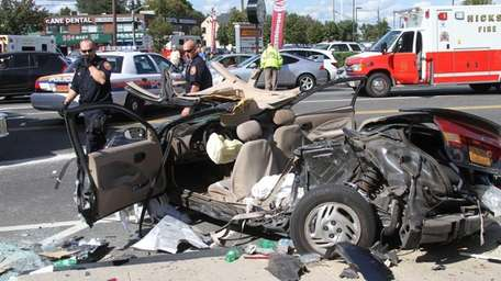 One of two cars involved in a collision