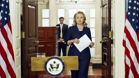 Secretary of State Hillary Clinton speaks from the