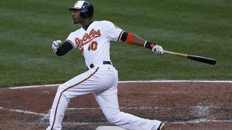 Adam Jones watches his two-run home run during