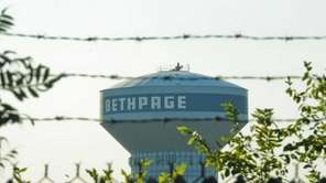 A view of the Bethpage water tower from