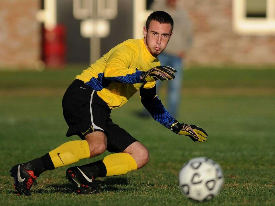 Hicksville goalie Brian McPartland reacts to a kick