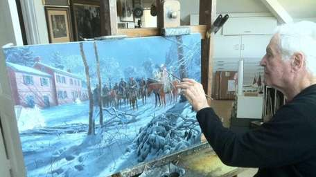 Photo of Mort Kunstler with his latest painting