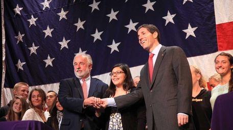 Congressman Tim Bishop, left, and his opponent, Randy