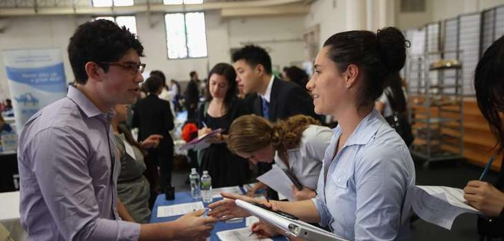 Students meet with potential employers at the Barnard