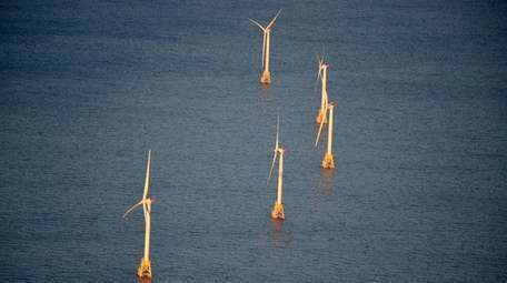 An aerial view of the Deepwater Windfarm operated