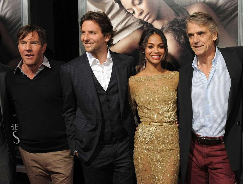 Castmates, from left, Dennis Quaid, Bradley Cooper, Zoe