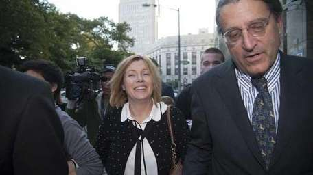 Anna Gristina exits Manhattan Criminal Court with her