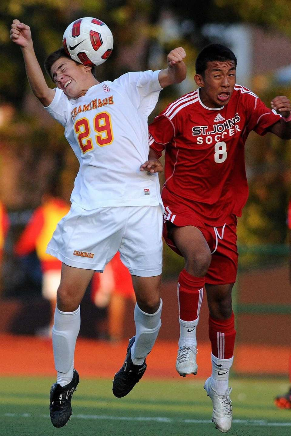 Chaminade's Danilo Lozada, left, heads a ball away