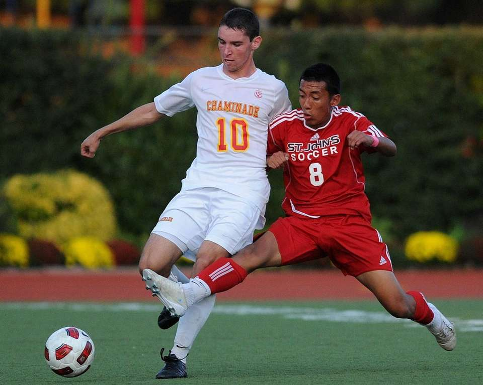 Chaminade's Kevin Mercadante, left, and St. John the