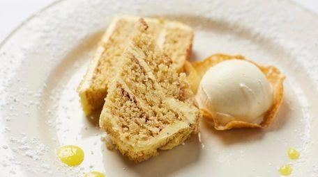 Orange-vanilla torte with creamsicle ice cream and burnt
