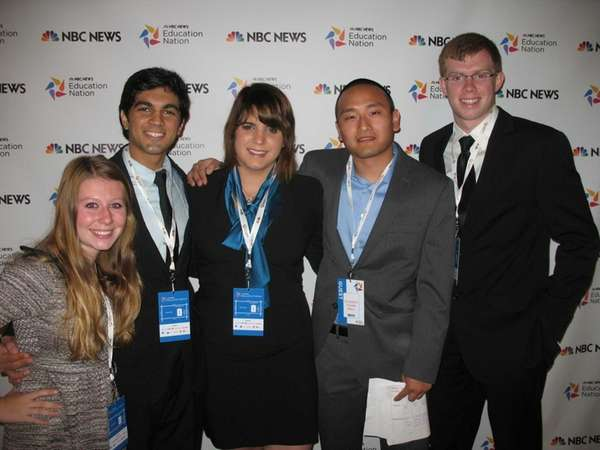 Medford teen Saad Amer, second from left, was