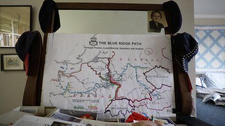 Bob Harmon has the map showing his platoon's