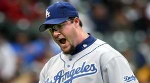 Los Angeles Dodgers closer Eric Gagne pumps his