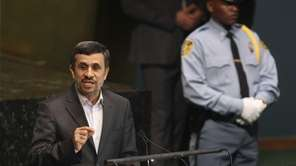 Iranian President Mahmoud Ahmadinejad speaks at a high