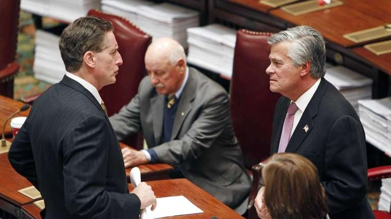Lt. Gov. Robert Duffy, left, talks with Senate