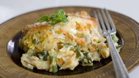 Creamy chicken and potato casserole is an easy,