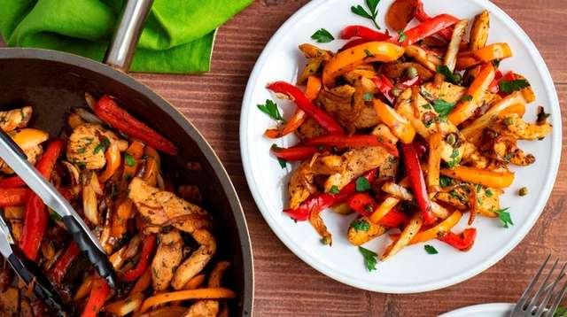 Chicken breasts strips, red and yellow peppers, fennel,