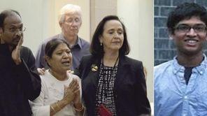 The parents of missing Harsha Maddula, Prasad, left,