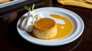 Flan for dessert with caramel and whipped cream