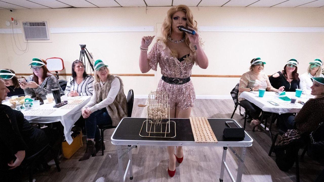 Participants play Drag Queen Bingo at the American