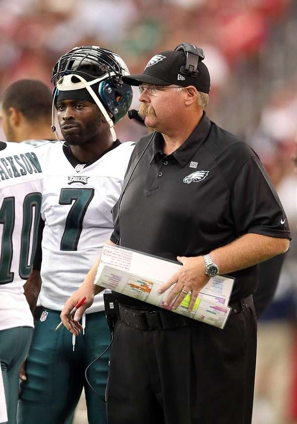 Head coach Andy Reid and quarterback Michael Vick