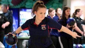 Kings Park/Smithtown's Kim Brandt bowls in a match