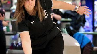 Sachem's Amanda Naujokas bowls in a match against