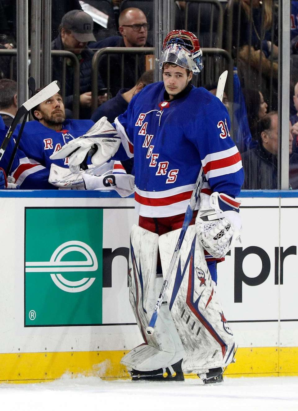 Igor Shesterkin #31 and Henrik Lundqvist #30 of