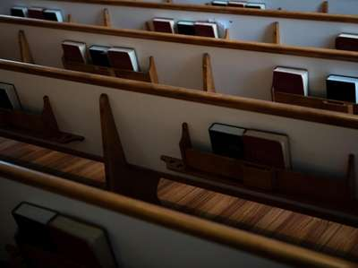 The pews of Church-in-the-Garden in Garden City on