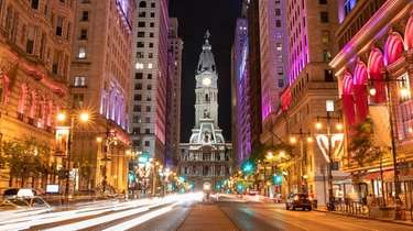 A view of Philadelphia City Hall's historic clock