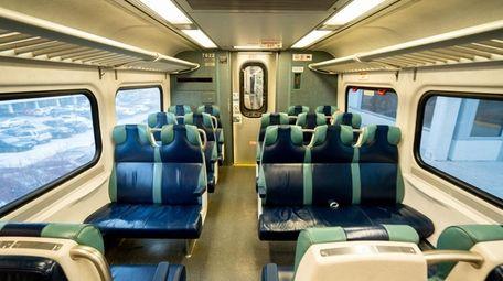 An empty set of seats on an LIRR