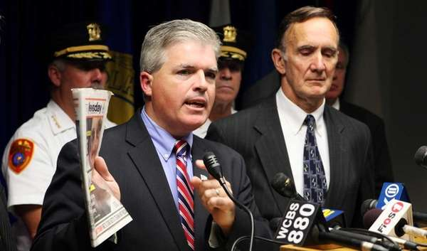 Suffolk County Executive Steve Bellone, with Police Commissioner