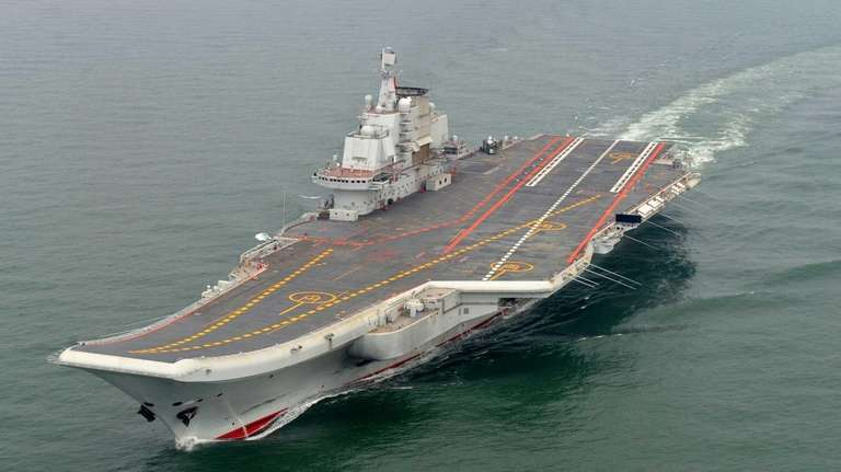 The Chinese aircraft carrier Liaoning cruises for a