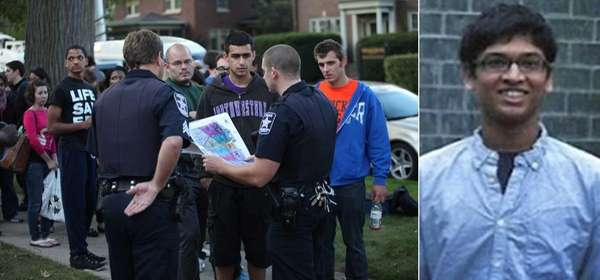 Left, volunteers gather at Northwestern University to search