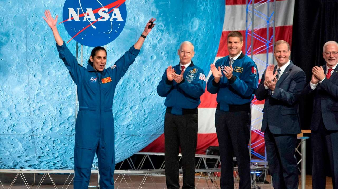NASA astronaut Jasmin Moghbeli celebrates during astronaut graduation