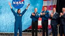 NASA astronaut Jasmin Moghbeli celebrates during astronaut graduation
