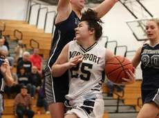 Northport's Tess Maline drives to the basket and