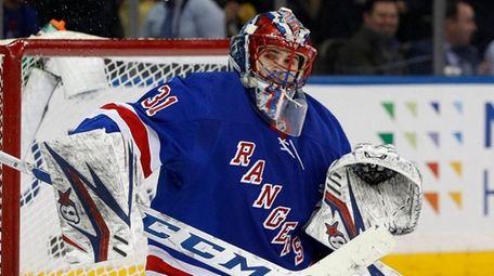Igor Shesterkin of the New York Rangers makes