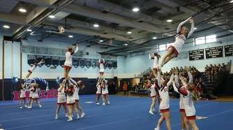 Smithtown East Bulls at the Suffolk cheerleading competition