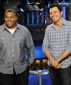 Kenan Thompson, left, and host Seth MacFarlane on