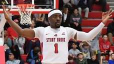Stony Brook guard Makale Foreman reacts after he